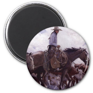 Vintage Cowboy with His Herd of Cattle by Koerner Magnet