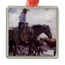 Vintage Cowboy with His Herd of Cattle by Koerner Metal Ornament