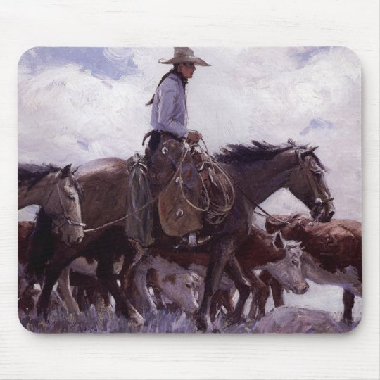 Vintage Cowboy with His Herd of Cattle by Koerner Mouse Pad