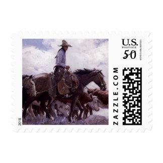 Vintage Cowboy with His Herd of Cattle by Koerner Postage