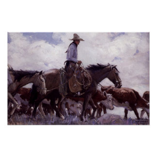 Vintage Cowboy with His Herd of Cattle by Koerner Poster