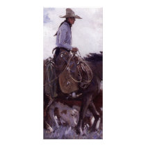 Vintage Cowboy with His Herd of Cattle by Koerner Rack Card
