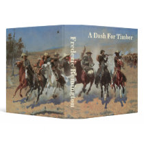 Vintage Cowboys, A Dash For Timber by Remington 3 Ring Binder