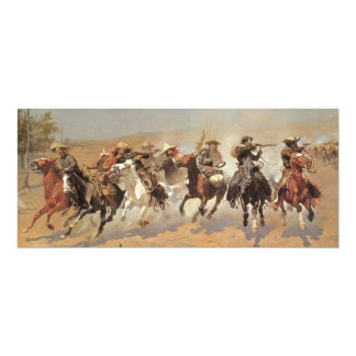 Vintage Cowboys, A Dash For Timber by Remington 4x9.25 Paper Invitation Card