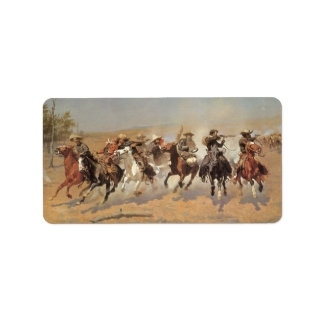 Vintage Cowboys, A Dash For Timber by Remington Address Label