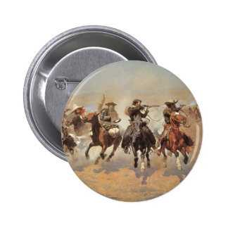 Vintage Cowboys, A Dash For Timber by Remington 2 Inch Round Button
