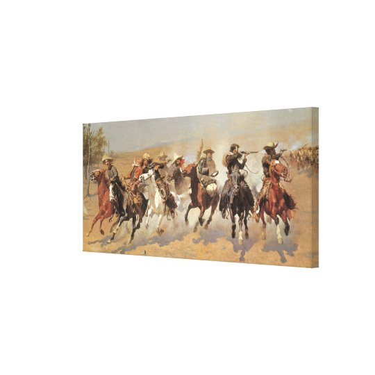 Vintage Cowboys, A Dash For Timber by Remington Canvas Print