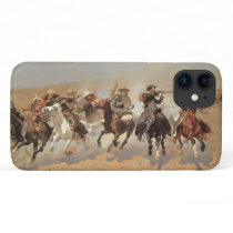Vintage Cowboys, A Dash For Timber by Remington iPhone 11 Case