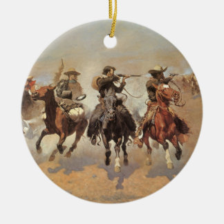Vintage Cowboys, A Dash For Timber by Remington Ceramic Ornament
