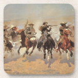 Vintage Cowboys, A Dash For Timber by Remington Drink Coaster