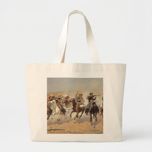 Vintage Cowboys, A Dash For Timber by Remington Large Tote Bag