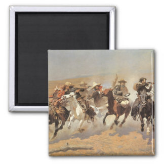 Vintage Cowboys, A Dash For Timber by Remington 2 Inch Square Magnet