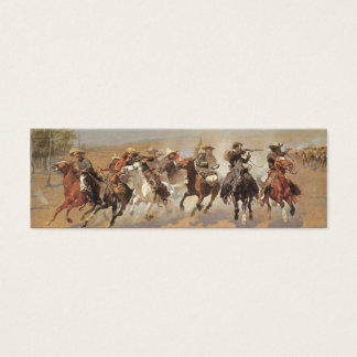 Vintage Cowboys, A Dash For Timber by Remington Mini Business Card