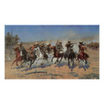 Vintage Cowboys, A Dash For Timber by Remington Poster