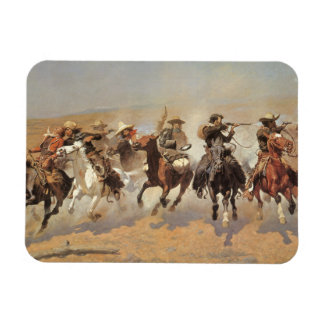Vintage Cowboys, A Dash For Timber by Remington Rectangular Photo Magnet