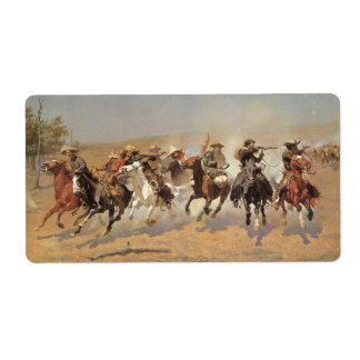 Vintage Cowboys, A Dash For Timber by Remington Shipping Label