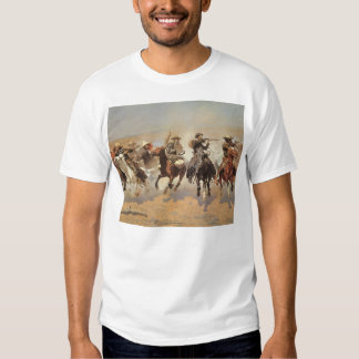 Vintage Cowboys, A Dash For Timber by Remington T-Shirt
