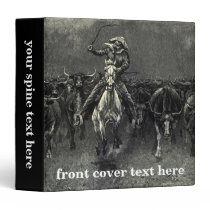 Vintage Cowboys, A Stampede by Frederic Remington 3 Ring Binder