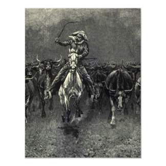 Vintage Cowboys, A Stampede by Frederic Remington 4.25x5.5 Paper Invitation Card