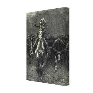 Vintage Cowboys, A Stampede by Frederic Remington Canvas Print