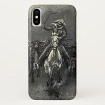 Vintage Cowboys, A Stampede by Frederic Remington iPhone X Case