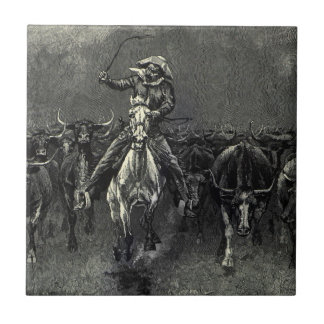 Vintage Cowboys, A Stampede by Frederic Remington Ceramic Tile