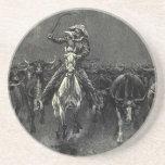 Vintage Cowboys, A Stampede by Frederic Remington Beverage Coasters