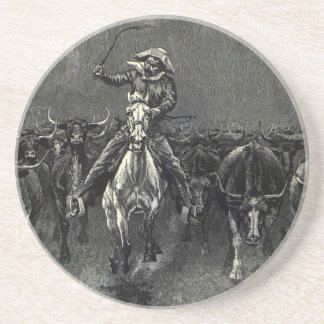 Vintage Cowboys, A Stampede by Frederic Remington Drink Coaster