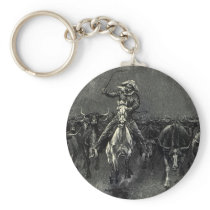 Vintage Cowboys, A Stampede by Frederic Remington Keychain