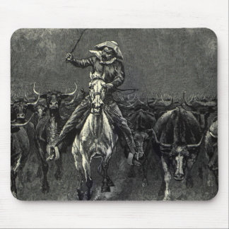 Vintage Cowboys, A Stampede by Frederic Remington Mouse Pad