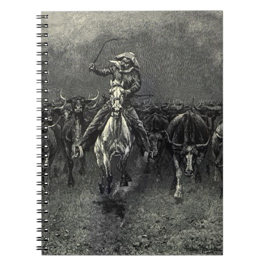 Vintage Cowboys, A Stampede by Frederic Remington Notebook