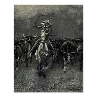 Vintage Cowboys, A Stampede by Frederic Remington Poster