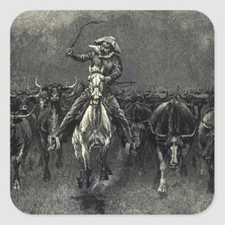 Vintage Cowboys, A Stampede by Frederic Remington Square Sticker