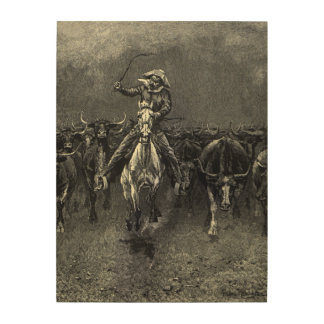 Vintage Cowboys, A Stampede by Frederic Remington Wood Print