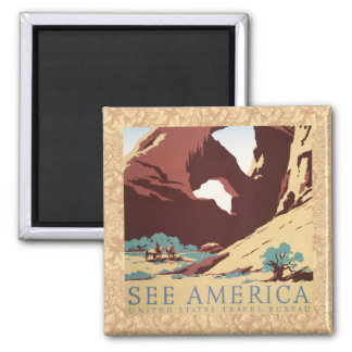 Vintage Cowboys Desert Rock Canyon Arch See Americ 2 Inch Square Magnet