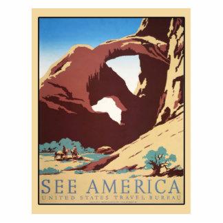 Vintage Cowboys Desert Rock Canyon Arch See Americ Cutout