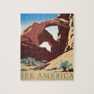 Vintage Cowboys Desert Rock Canyon Arch See Americ Jigsaw Puzzle