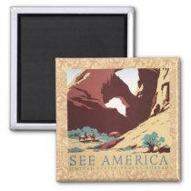Vintage Cowboys Desert Rock Canyon Arch See Americ Magnet