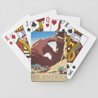 Vintage Cowboys Desert Rock Canyon Arch See Americ Playing Cards