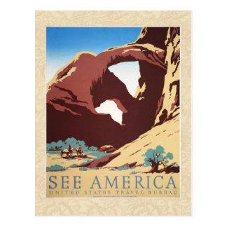Vintage Cowboys Desert Rock Canyon Arch See Americ Postcards