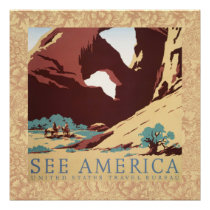 Vintage Cowboys Desert Rock Canyon Arch See Americ Poster