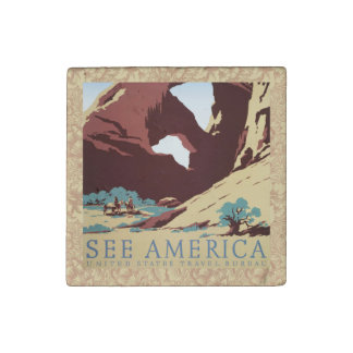 Vintage Cowboys Desert Rock Canyon Arch See Americ Stone Magnet