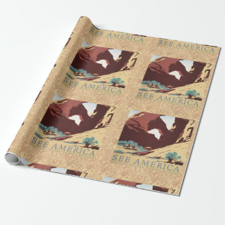 Vintage Cowboys Desert Rock Canyon Arch See Americ Wrapping Paper