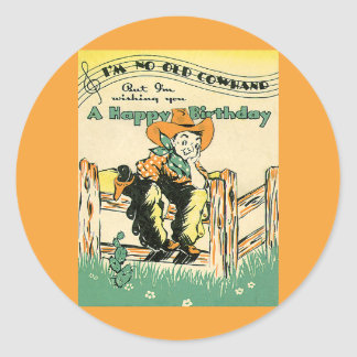 Vintage Cowboys, Happy Birthday Old Cowhand! Music Classic Round Sticker