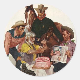 Vintage Cowboys, Happy Birthday Party Tex Classic Round Sticker