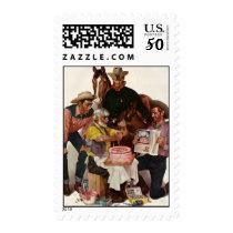 Vintage Cowboys, Happy Birthday Party Tex Postage