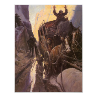 Vintage Cowboys, Hold Up in the Canyon by NC Wyeth 4.25x5.5 Paper Invitation Card