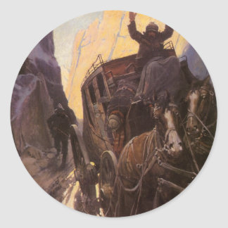 Vintage Cowboys, Hold Up in the Canyon by NC Wyeth Classic Round Sticker
