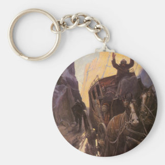 Vintage Cowboys, Hold Up in the Canyon by NC Wyeth Keychain