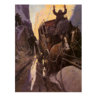 Vintage Cowboys, Hold Up in the Canyon by NC Wyeth Postcard